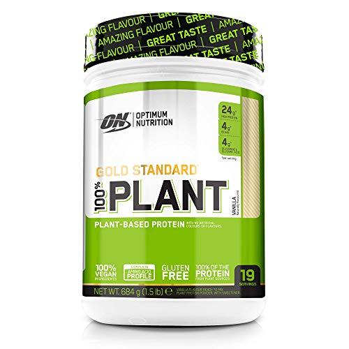 Optimum Nutrition 100% Plant Gold Standard senza Gluten, Proteine Vegane in Polvere con Vitamina B12, Aminoacidi Essenziali, BCAA Naturalmente Presenti, Vaniglia, 684g, 19 Porzioni