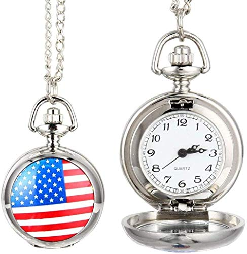 huangshuhua Reloj de Bolsillo para Hombres y Mujeres, Reloj de Bolsillo de Cuarzo, aleación Vintage, Bandera de EE. UU.