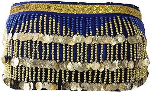 Egypt Bazar Extravagantes Bauchtanz Hüfttuch Münzgürtel in Rechtecksform, DREI Reihen Gold Münzen, Farbe blau