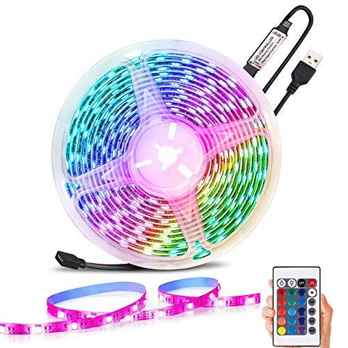 LED Strip RGB 5M, USB LED Streifen mit IR Fernbedienung, Farbwechsel LED Band mit 16 Farben und 4 Modi, Sync mit Musik,LED-Lichtleiste für Zuhause, Party, Schlafzimmer, Schrankdekoration