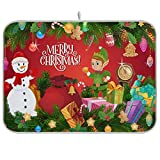 xigua Tapete absorbente de muñeco de nieve de Navidad para secar platos, escurridor de platos de microfibra reversible plegable, protector para encimeras, fregaderos, mesas, etc., 18 x 24 pulgadas