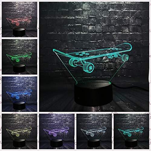 3D Cool Skateboard Sport LED Nachtlicht Schreibtisch Tischlampe Schlafzimmer Schlaf 7 Farbwechsel Kind Weihnachten Junge Mann Spielzeug Geschenk