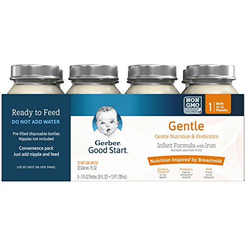Gerber Good Start Gentle Non-GMO Ready to Feed Infant Formula Nursers Stage 1, 3 Ounces (Pack of 48)