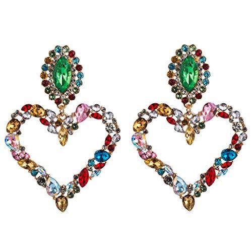 Pendientes brillantes de cristal arcoíris con colgante de corazón grande, para bodas