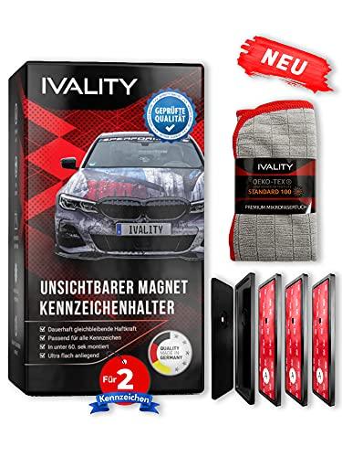IVALITY® Hochwertiger Magnet Kennzeichenhalter Rahmenlos für 2 Alu Kennzeichen | Nummernschildhalterung Auto | Wechselkennzeichenhalter Österreich /DE/CH | Auto-Zubehör | Car License Plate Holder