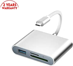 USB C to SD Card Reader, Rocketek Digital Camera Reader Adapter, Micro SD USB Camera Connection Kit for Mac Book Camera Android Windows Linux and Other Type C Device- Silver