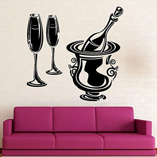 Mrlwy Calcomanía de pared de fiesta vino champán bebida nevera ventana pegatinas de vinilo restaurante cocina Bar bodega decoración interior papel tapiz 57x58cm