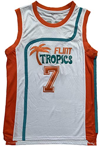 Jackie Moon 33 Coffee Black 7 Flint Tropics Semi Pro 90s Hip Hop Clothes for Party Men Basketball Jersey Green White (7 White, XXX-Large)