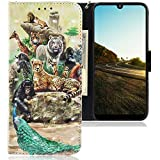 CLM-Tech Hülle kompatibel mit Motorola Moto E6 Plus - Tasche aus Kunstleder - Klapphülle mit Ständer & Kartenfächern, Tiere bunt Mehrfarbig