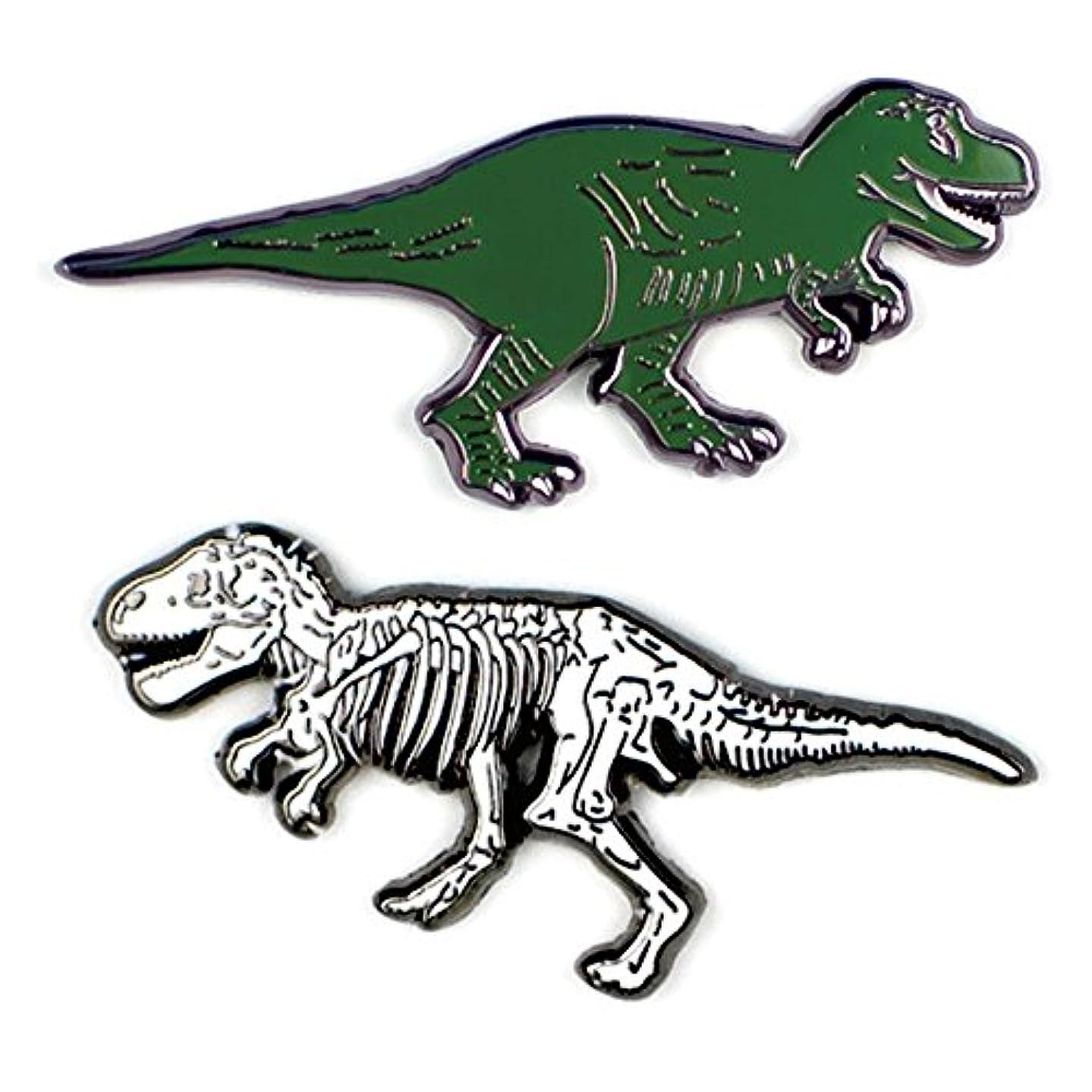 The Unemployed Philosophers Guild T. Rex and Fossil Enamel Pin Set - 2 Unique Colored Metal Lapel Pins