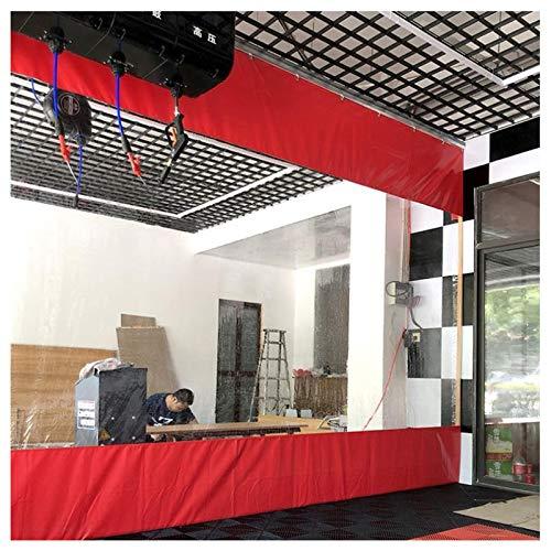 Pared Lateral Patio Kiosko Cámping Panel Lateral de La Tienda, Tarea Pesada Comercial Refugio de Pared Lateral, Transparente Rojo Barrera/Pantalla, Fácil de Instalar (Size : 3×5m(10×16ft))