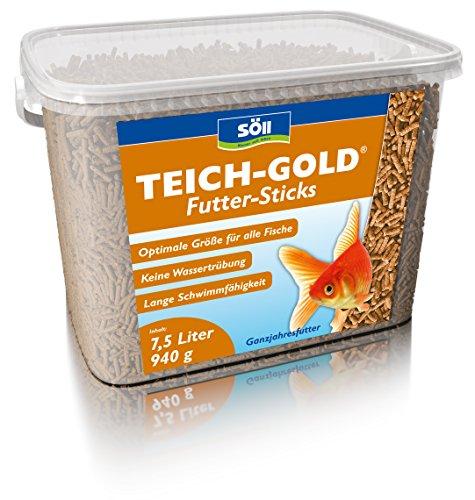Söll 14643 TeichGold Futter-Sticks – Alleinfuttermittel für alle Teichfische – schwimmfähige Teichsticks – 7,5 l - 2