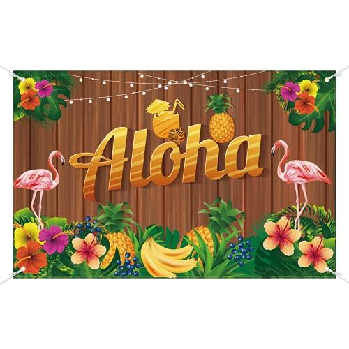 MEZOOM Tropical Party Dekoration, Aloha Party Banner Hawaii Hintergrund Partybanner Flamingo Palmen Tropischen Luau Summer Thema Party für Strand Pool Bar BBQ