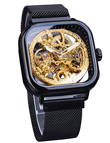 Forsining Transparent Fashion Automatic Mechanical Wrist Watch Black Golden for Business Men Stainless Steel Open Work Skeleton Royal Flower Movement Carving