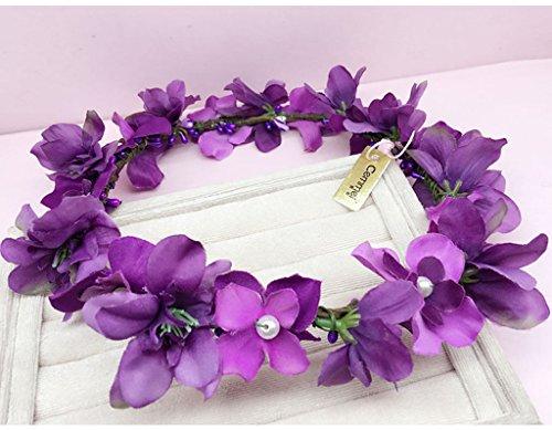 &Kroon bloem hoofdtooi Bloem Krans, Hoofdband Bloem Garland Handgemaakte Bruiloft Bruid Party Lint Hoofdband Polsband Haarband Paars/wit bloem krans kroon