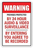 PREMISES PROTECTED BY 24H AUDIO & VIDEO Sign surveillance camera security [並行輸入品]