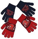 2 Kinderhandschuhe für Jungen, Spider-Man, 3 Farben, TU (4 bis 8 Jahre) Gr. Einheitsgröße, Rot/Marineblau