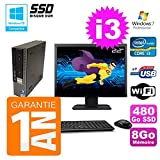 Mini PC Dell 790 Ultra USFF Core I3-2100 8GB Disco 480GB SSD Wifi W7 Pantalla 22'