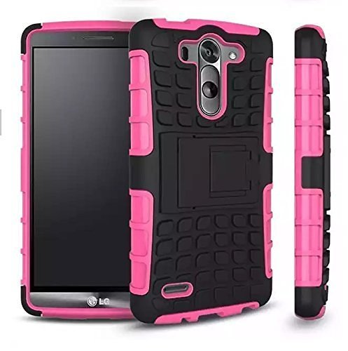LG G4 Case, Cable and Case?, LG G4 Armor Heavy Duty Rugged Dual Layer Armor Case with Kickstand (LG G4 Pink) (Pink)