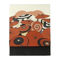[ワッカ] 京袋帯 正絹 WAKKA 帯 日本製 袋帯 京都 着物用 絹100% (雨唄/赤黒)