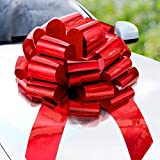 Zoe Deco Big Car Bow (Red, 23 inch), Round Shape Gift Bows, Giant Bow for Car, Birthday Bow, Huge Car Bow, Car Bows, Big Red Bow, Bow for Gifts, Christmas Bows for Cars, Gift Wrapping