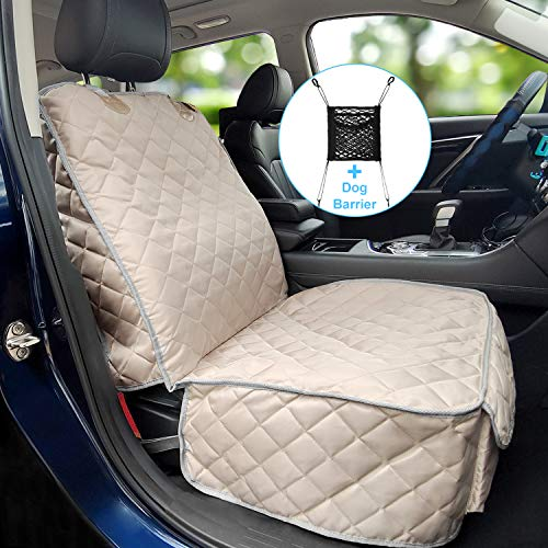 Bark Lover Deluxe Dog Seat Cover for Front Seat-More Durable Waterproof Front Seat Protector, High Heat Resistant and Nonslip Front Seat Cover for Dogs Kids, Universal Size (Beige)