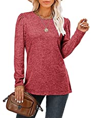 Fangcloudy Women's Elegant Tunic Tops Pleated Sleeve Crewneck Blouses Fall Loose Casual T-Shirts