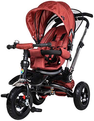 Miweba Kinderdreirad Schieber 7 in 1 Kinderwagen - Freilauf - Faltbar - Luftreifen - Heckfederung - Laufrad - Dreirad - Schubstange - Ab 1 Jahr (Rot)