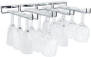 Wallniture Wall Mounted Stemware Wine Glass Rack Hanger Storage Chrome Finish Set of 4