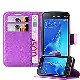 Cadorabo Hülle für Samsung Galaxy J1 Mini in Mangan VIOLETT - Handyhülle mit Magnetverschluss, Standfunktion & Kartenfach - Hülle Cover Schutzhülle Etui Tasche Book Klapp Style