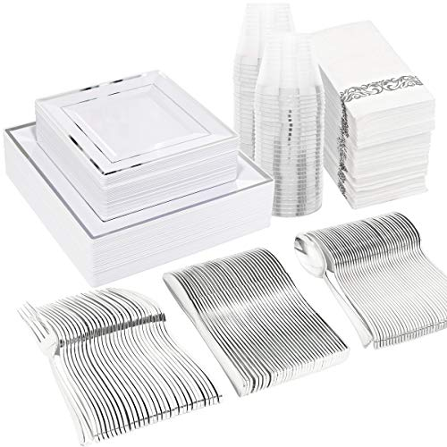 WDF 50 Guest Silver Plastic Plates with Disposable Cutlery& Silver Plastic Cups-Square Plastic Plates-Silver Plastic Utensils Set and Napkins for Wedding& Parties