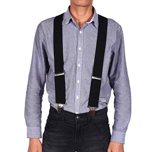 Cocoarm Hosenträger für Herren breit extra starken 5 cm Elastisch und Verstellbar mit 4er Clips X Form lange für Männer und Damen Hose X Form