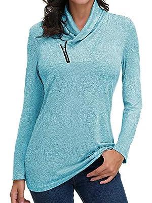 SATINIOR Womens Soft Cowl Neck Zip Up Pullover Active Sweatshirt (Blue, S)