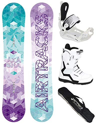 Airtracks Snowboard Set - Board Akasha Lady 144 - Softbindung Master - Softboots Savage W 39 - SB Bag