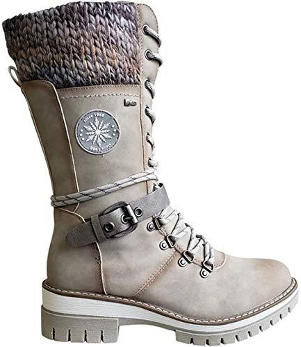 Bottes mi-Mollet à Boucle et Dentelle tricotées pour Femme, PU Leather Knitted Mid-Calf Boots, Chaud et Confortable, Taille Standard, Womens Winter Stylish Casual Shoes (Beige, 39 EU)