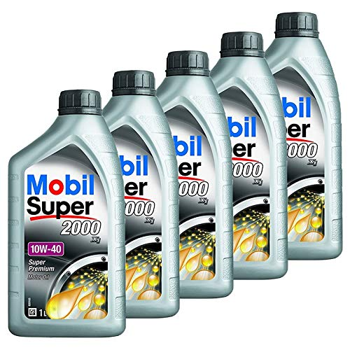 Mobil SuperTM 2000 X1 10W-40 Aceite para Motor, 5 Unidades, 1 L