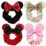 Women Mouse Ears Scrunchies Velvet Sequin Bow...