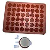 Allforhome set of 48 Capacity Macarons Moulds Baking Mat and Decorating Flower Tools