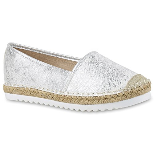 stiefelparadies Damen Espadrilles Metallic SlipperBast Profilsohle Flats Freizeit Glitzer Prints Spitze Schuhe 131119 Silber 38 Flandell