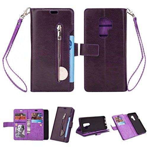 FOLICE Galaxy S9 Plus Case, Zipper Wallet Case [Magnetic Closure] Detachable Magnetic Case & 9 Card Slots, PU Leather Kickstand Wallet Cover Durable Flip Case for Samsung Galaxy S9 Plus (Violet)