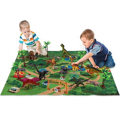 TEMI 恐竜 おもちゃ フィギュア 恐竜世界 恐竜セット パズル 6歳以上使用 男の子 プレゼント ジュラシックワールド プレイマット 樹木 ダイナソー リアルな恐竜セット ティラノサウルス トリケラトプス T-レックス ヴェロキラプトル クラフトできる恐竜公園 誕生日 女の子 パーティー飾り