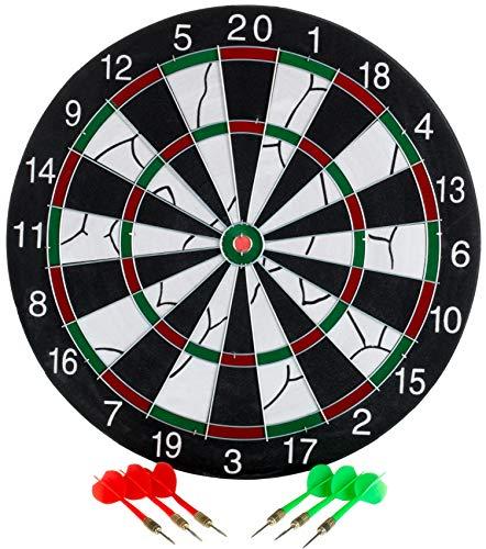 Brandsseller Dartscheibe Darts Zielscheibe Doppel Dartboard Zweiseitig inkl. 6 Dartpfeilen - Ø 37 cm