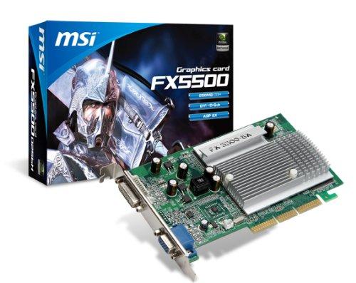 MSI NVIDIA GeForce FX 5500 Grafikkarte (AGP, 256MB, GDDR Speicher, DVI, 1 GPU)