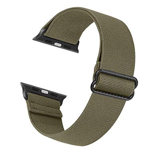 Correa de repuesto elástica Cuteeze compatible con Apple Watch Correa 38 mm 40 mm 42 mm 44 mm, correa de nailon suave para iWatch Series 6, 5, 4, 3, 2, 1, SE (Caqui, 42/44mm)