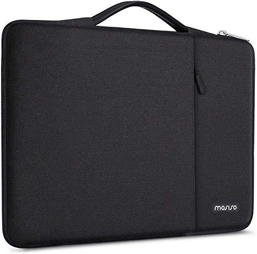 MOSISO Maletín Compatible con 13-13.3 Pulgadas MacBook Pro/MacBook Air/Ordenador Portátil,360 Funda Protectora Bolsa Poliéster Vertical, Bolso de Mano a Prueba de Golpes con Bolsillo,Negro