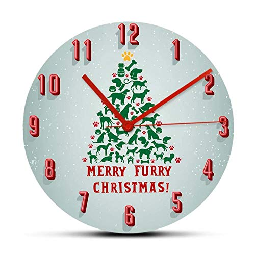 mazhant Feliz Navidad Peluda Reloj de Pared Gato y Perro Dueños de Mascotas Reloj de decoración del hogar Reloj de Pared Barrido silencioso para el Dormitorio Amantes de los Animales Regalo-30X30cm