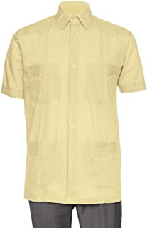 Gentlemens Collection Short Sleeve Guayabera Shirt - for Men Cuban Linen Look