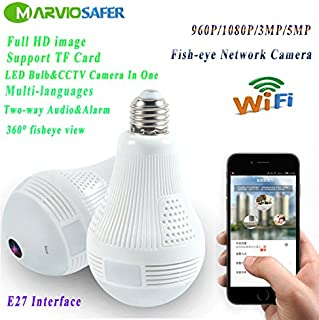 960P HD LED Bulb CCTV Wifi Network Camera VR Panoramic View Fisheye Camera Two-way Audio Phone Monitor (960P Version)