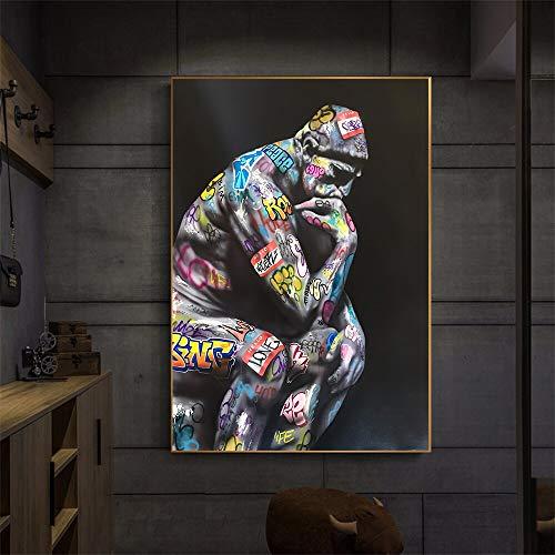 wZUN Pensadores del Arte del Graffiti Que pintan Carteles e Imprimen Retratos murales en la decoración del hogar de la Lona 60x80 Sin Marco