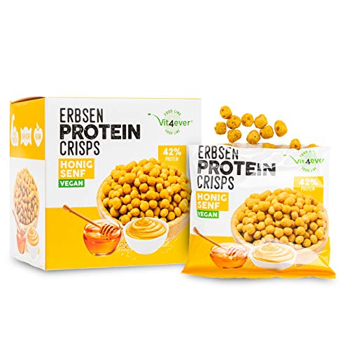 Vit4ever® High Protein Erbsen Crisps - 42% Protein Fitness Snack mit Erbsenprotein - Low Sugar & Low FAT - Ideal zur Diät & Fitness - 5x 60g (Honig Senf) - Alternative zu Chips - Vegan